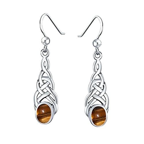 Gemsonclick Elegir tu color plata de ley creada o natural con piedras preciosas celtas, diseño de pendientes de gota lineal, joyería ovalada para mujeres y niñas, regalo de alambre de pescado marrón