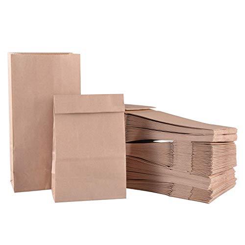 mysunny Papiertüten, Braun Tütchen, Kraftpapier Tüten, Papierbeutel Geschenktüten Papier Recycelbar für Hamburger Sandwich Mitnehmen Mittagessen Brot Keks Süßigkeiten 100PCS (ölbeständig 90x55x180mm)