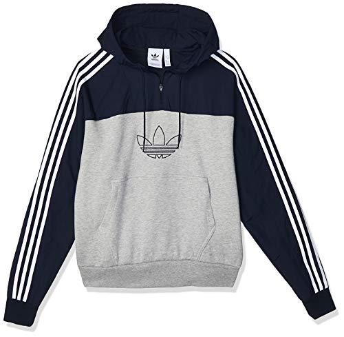 adidas Herren Hoody Outline Mixed, M Grey Heather/Legend Ink, S, ED6240
