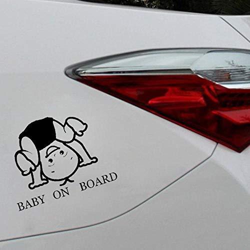 Stukk Stickers Baby On Board Lustiger Auto-Aufkleber, Vinyl, niedlicher Junge, 15 cm x 11,5 cm - Schwarz