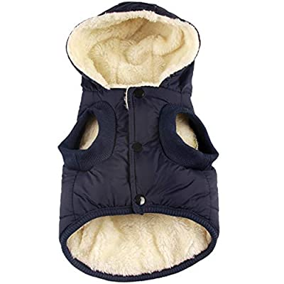 vecomfy Fleece and Cotton Lining Extra Warm Dog Hoodie in Winter,Small Dog Jacket Puppy Coats with Hooded