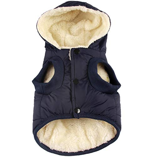 Vecomfy Fleece and Cotton Lining Extra Warm Dog Hoodie in Winter for Pugs