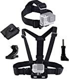 Caliban Straps, Mount, Harness Compatible with All Gopro and Most Action Cameras (Chest Strap + Head Strap)