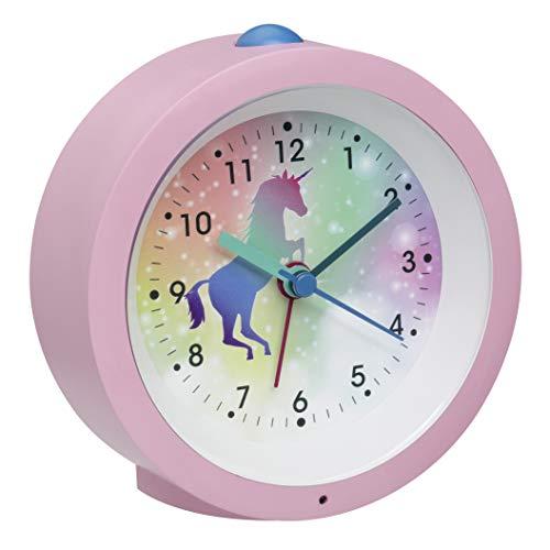 TFA Dostmann Analoger Kinder-Wecker Einhorn, 60.1033.12, mit Pferdemotiv, mit leisem Uhrwerk, Weckalarm und Beleuchtung, rosa, L 105 x B 41 x H 105 mm