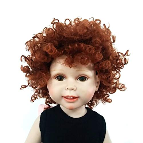 MUZI WIG Heat Resistant Afro Tiny Curls Finished Short Cut Doll Wigs for 18'' Height Doll with 10-11inch Head
