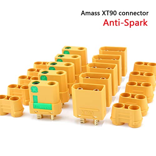 Amass 5 Pair XT90S XT90-S XT90 Connector Anti-Spark Male Female Connector for Battery, ESC and Charger Lead