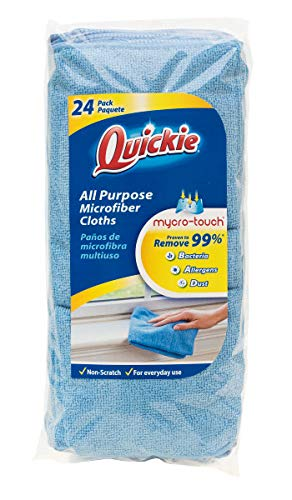 Quickie General Purpose Microfiber Cleaning Cloth - Reusable 24 Pack (49024RM), Blue