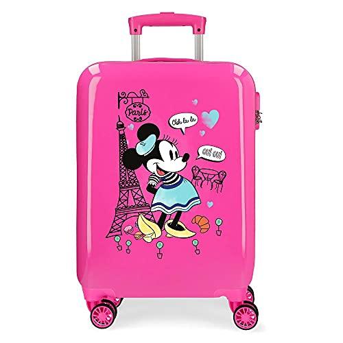 Disney Minnie Around The World Maleta de Cabina Rosa 38x55x20 cms Rígida ABS Cierre de combinación Lateral 34 2 kgs 4 Ruedas Dobles Equipaje de Mano