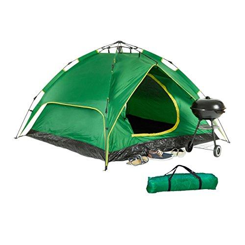 Relaxdays Campingzelt, für 3-4 Personen, Quick-Up, 2in1-Funktion, H x B x T: 200 x 200 x 115cm, Grün