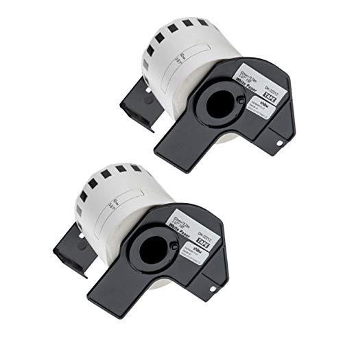 vhbw 2x Set Etiketten-Rolle 62mm x 15,24m passend für Brother P-Touch QL-580, QL-580N, QL-650, QL-650TD, QL-700, QL-710 Etiketten-Drucker