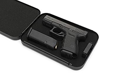 AdirOffice Portable Travel Gun Safe - Heavy Duty Pistol Box with 3 Digit Combination Lock & Carrying Cable - Secures Firearms Cash Jewelry Documents & More