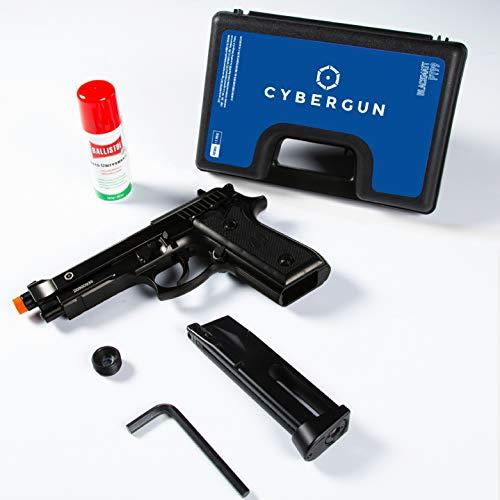 Taurus Kit Pistola Softair PT 92 Para a C02 Full Metal Scarrellante Semi e Automatica Colore Nero Azione Singola e Raffica Caricatore Da 26 Pallini Potenza 0,9 Joule + Olio Ballistoll Universale 25ml.