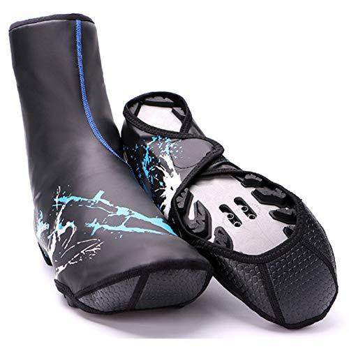 MKWEY Cubrezapatillas De Ciclismo Térmicas Hombre Impermeable Invierno, Funda Zapatos Bicicleta Neopreno Cálido Resistente Viento, Cubrezapatos Antideslizantes Reflectantes Duraderos,Azul,L