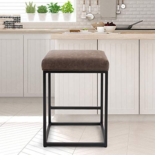 PHI VILLA Bar Stools Counter Height,24 Inches Square Leather Bar Stools Without Back for Kitchen Island,Dining Room and Living Room,Modern Designed Bar Stools Furniture Decorates Every Room,Brown