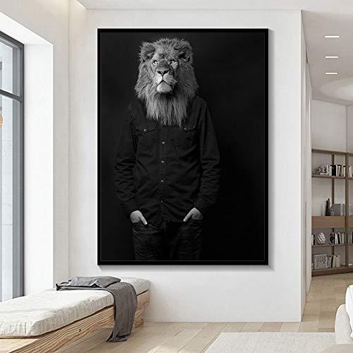 Pintura sin Marco Elegante Blanco y Negro león Tigre Elefante Jirafa Lobo Caballo Arte de la Pared póster y Animales sobre Lienzo ZGQ2700 30X40cm
