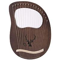Champion crafts ライアー 16弦 ハープセット 森の鹿 竪琴 木製 マホガニーソリッドウッド 心癒し 弦楽器 初心者向け チューニングレンチ/収納袋付き (コーヒー)