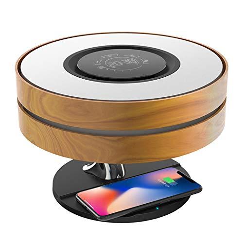 Ye Wang Lampara Cargador inalambrico 10 W Lámpara de Noche con Altavoz Bluetooth, lámparas táctiles, lámpara de mesita de Noche Dormitorio con Modo de suspensión y atenuación Continua