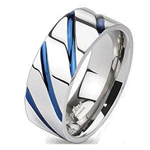 Bungsa 64 (20.4) Titan Ring Silber-Blau - Titanium Ring mit Blauen Streifen für Damen & Herren - Silber-Blauer Damenring/Herrenring - SCHMUCKRING für Frauen & Männer - Blue Stripes Titan Ringe