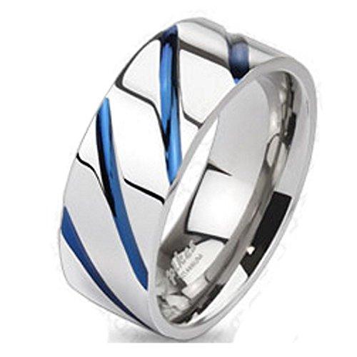Bungsa 60 (19.1) Titan Ring Silber-Blau - Titanium Ring mit Blauen Streifen für Damen & Herren - Silber-Blauer Damenring/Herrenring - SCHMUCKRING für Frauen & Männer - Blue Stripes Titan Ringe