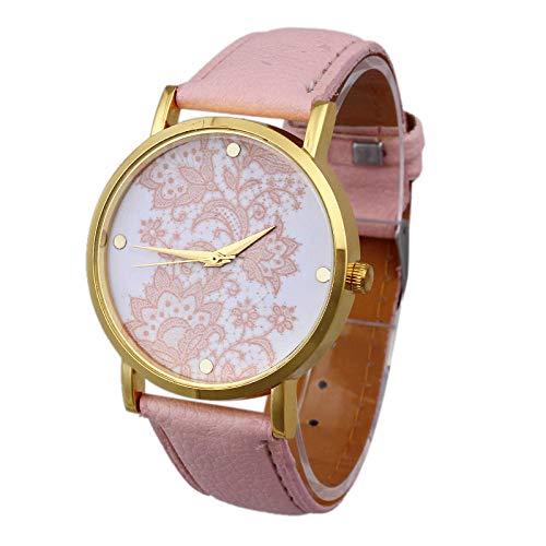 ZHAOSN Rich Green Plant Pattern Damenuhren aktuellen Faktoren minimalistischen Uhr Uhren-Rosa_China