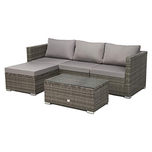 SVITA Queens Poly Rattan Sitzgruppe Couch-Set Ecksofa Sofa-Garnitur Gartenmöbel Lounge Schwarz, Grau oder Braun (Grau)