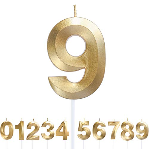 URAQT Velas Cumpleaños, Velas de Pastel de Cumpleaños Doradas, Velas de Números 9 para Cumpleaños/Aniversario de Bodas/Fiesta de Graduación, Número 0-9 para Elegir