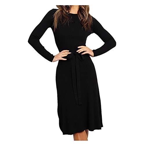 Frauen Schlank Elegant Etuikleid Damen Jahrgang O-Ausschnitt Einfarbig Bandage Lange Ärmel Kleider