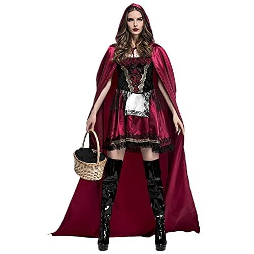 Carnaval Party Club Adult Women Little Riding Hood Disfraz Halloween Sexy Masquerade Cosplay Cuento de Hadas Princess Fancy Dress,Rojo,S