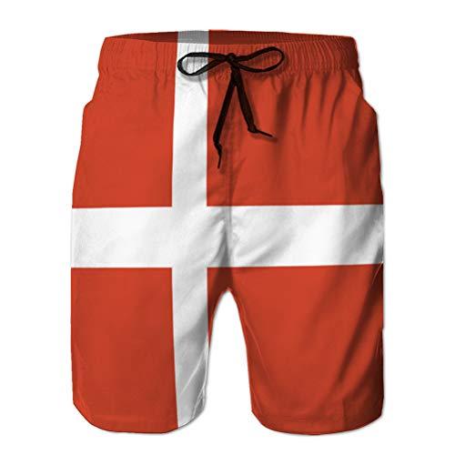 jiilwkie Herren Quick Dry Summer Beach Surfbrett Badeshorts dänische Flagge XL