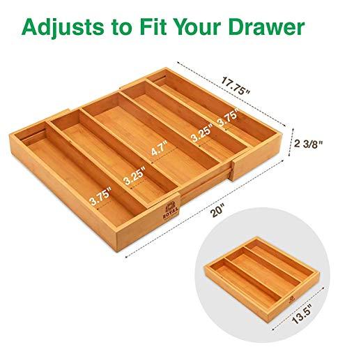 Bamboo Kitchen Drawer Organizer - Expandable Silverware Organizer/Utensil Holder and Cutlery Tray (Natural)