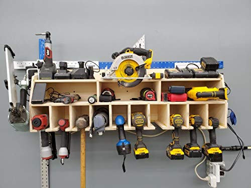 Cordless Drill Tool Holder Organization Storage Rack Wood Shelf Case Organizer 10-Slot Birch Plywood fits Dewalt 20V MAX Power Tools