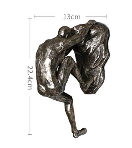 niawmwdt Industrieller Stil Klettern Mann Harz Eisendraht Wandbehang Dekoration Skulptur Figuren Kreative Retro Geschenk Statue Dekor Geschenk, F.