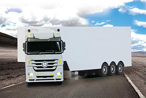 JAMARA 403640 - Mercedes-Benz Actros 1:32 2,4GHz - realistischer Motorsound, automatisches Ab-und Ankuppeln, weiß