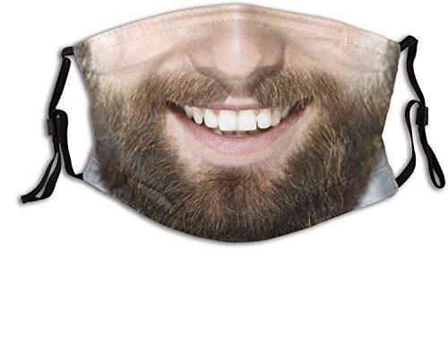 Lustiger Bart mit 2 Filtern Waschbar Verstellbarer Stoff Wiederverwendbarer Gesichtsschutz Sturmhaube Für Erwachsene mit Nasendraht, der Keine Brille für Frauen Männer beschlägt