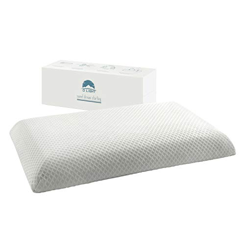 """Dlight Bedding Ultra Slim 2.7"""" Stomach Sleeping Gel Infused Memory Foam Half Side Pillow- Ultra Thin and Flat Design for Stomach and Back Sleepers"""