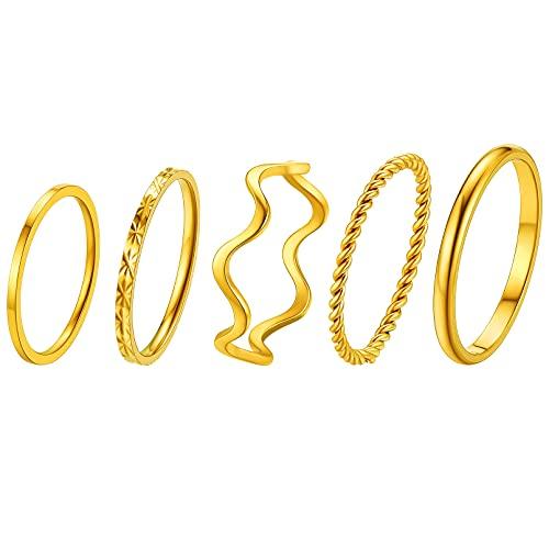 FaithHeart Anillos Dorados Acero Inoxidable 316L de Mujeres Set de Joyería Anillos Superfinos para Parejas Chapado en Oro 18K Joyerías Minimalistas de Moda para Amigas