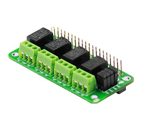 Sb Components Relay 4 Zero - Relé de 3 V y 4 canales para Raspberry Pi, relé de expansión para Raspberry Pi 4B/3B+/3B/B/B+/A+/Zero W   Módulo de relé de alimentación para Raspberry Pi