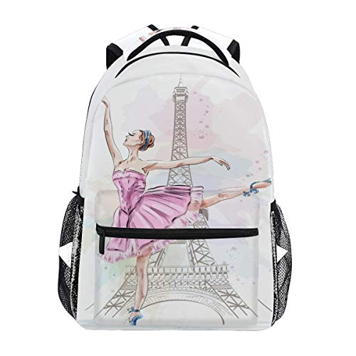 MOYYO School Backpack College Bookbag Travel Camping Laptop Daypack, Ballerina, 11.5x8x16 inch