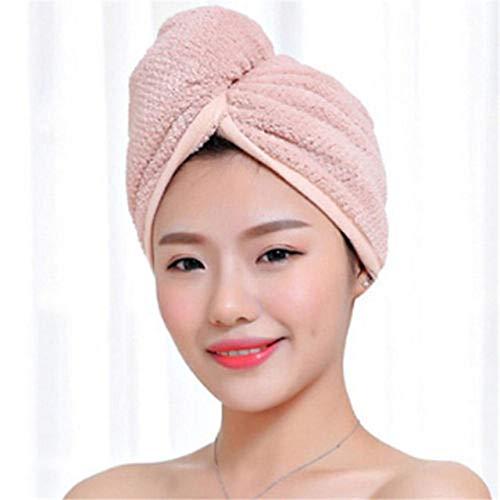 Mujeres Cabello Secado rápido Microfibra Baño SPA Toalla Turbante Nudo Twist Loop Wrap Hat Cap para Accesorios de baño Baño - Rosa