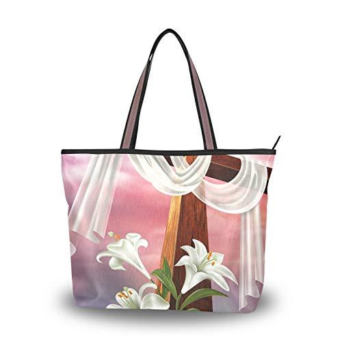 NaiiaN Leichte Riemen Handtaschen Umhängetaschen für Mutter Frauen Mädchen Damen Student Geldbörse Shopping Ostern Auferstehung Kreuz Lily Einkaufstasche