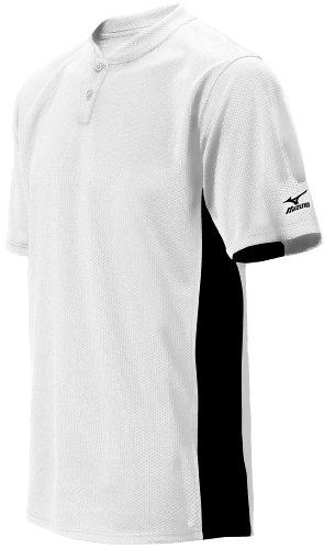 Mizuno Herren 2Farbe Block Short Sleeve Baseball Jersey, Herren, 350221.0090.03.XS, Weiß-Schwarz, xs