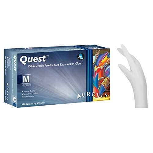 Aurelia Quest - Guantes de nitrilo sin Polvo, 200 Unidades, Color Blanco Caja