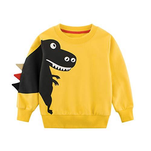 TOKYMOON Jungen Sweatshirt Pullover Baumwolle T-Shirt Kinder Langarm Shirts Dinosaurier Pullover Jungen Kinder Sweatshirt Warme Jumper Oberbekleidung Pullover T-Shirt Top Gelb 86