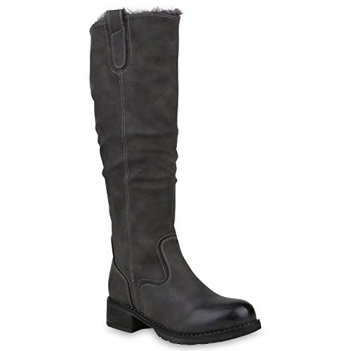 Klassische Damen Stiefel Warm Gefütterte Winterstiefel Leder-Optik 153261 Grau Arriate 41 Flandell