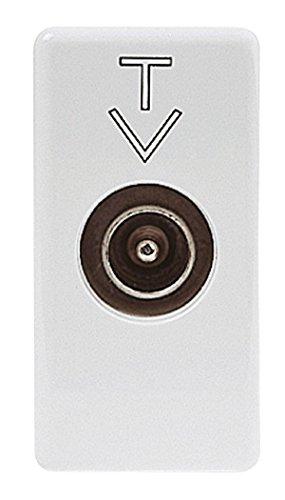 PRESA COASSIALE TV CONNETTORE IEC MASCHIO 9,5MM DIRETTA CON PASSAGGIO DI CORRENTE 1 MODULO SYSTEM WHITE