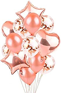 14 in 1 /set Rose Gold Star Heart Foil Balloons Air Wedding Decoration Helium Balloon Happy Birthday Party Decoration Kids Baby Party Supplies
