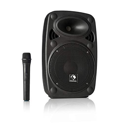 """auna Streetstar - Mobile PA Soundanlage, Musikanlage, Bluetooth Lautsprecher, PA Anlage mit USB-Port, SD, MP3, AUX-In, Akku, LED-Display, (15\"""" (38 cm) Subwoofer, max. 200 Watt, schwarz"""