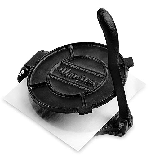 Uno Casa Cast Iron Tortilla Press - 8 Inch, Pre-Seasoned Tortillas Maker with 100 Pcs Parchment Paper