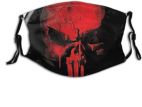 YRUI Punisher Skull Red on Black Marvel Comics Tuch waschbar – verstellbare Baumwollmaske Unisex Erwachsene für Damen und Herren