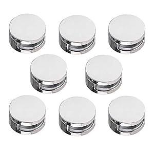 Gobesty Abrazaderas de vidrio, 8 piezas Clip de soporte de montaje de soporte de acristalamiento de balaustrada de 4-7 mm para pared, poste, acero, redondo, plata